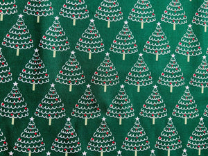 "Blue Emerald Green Xmas Trees Fabric Christmas Cotton Fabric 60"" Wide - Kims Crafty Corner"