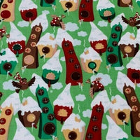 Christmas Elf Houses Cotton Fabric - Kims Crafty Corner