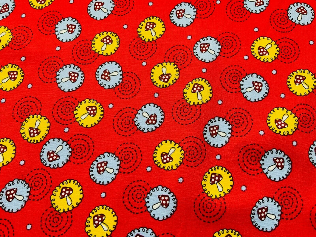 Red Toadstool Mushroom Cotton Fabric Craft Fabric - Width Approx. 148cm/58