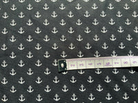 Black Nautical Fabric Cotton Fabric, Boats Fabric, White Anchor Fabric Ocean