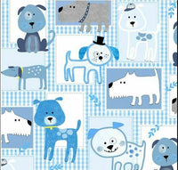 Blue Gingham Dog Cotton Fabric - Kims Crafty Corner