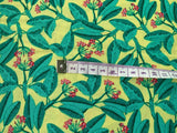 "Green Leaves on Yellow Cotton Fabric - Width Approx. 112cm/44"" Foliage Forest"