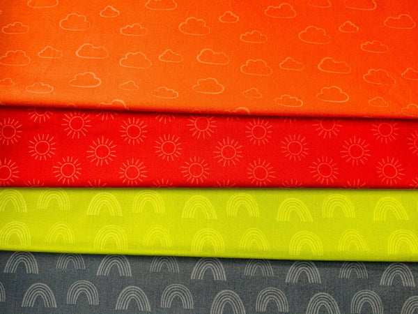 Red Orange Grey Green Cloud Rainbow Fabric 100% Cotton Fabric Novelty Fabric