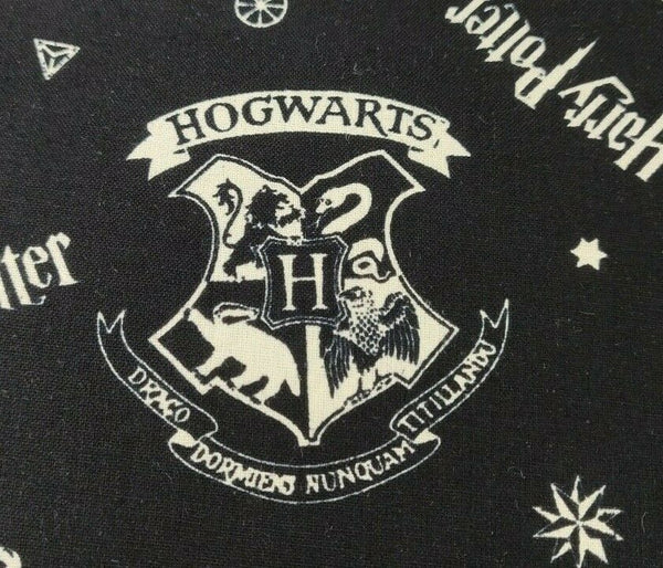 Harry Potter Fabric Black Hogwarts Crest Houses Cotton Fabric Craft Cotton