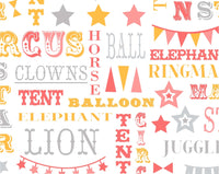 "Circus Words Coral Pink Cotton Fabric - Width Approx. 112cm/44"" Sold by the Metre"