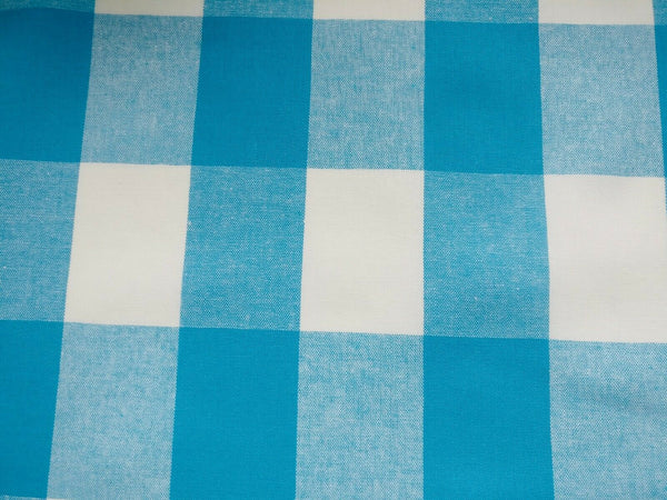 Blue and White Gingham Cotton Fabric Checkered Fabric - Width 146cm/57""