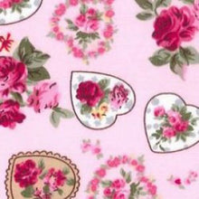 Load image into Gallery viewer, Cath Kidson Style Hearts & Roses Cotton Fabric - Kims Crafty Corner