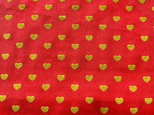Load image into Gallery viewer, Pink With Gold Yellow Hearts Cotton Fabric Romantic Craft Fabric Valentines Day