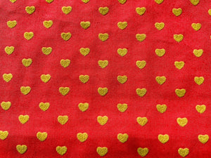 Pink With Gold Yellow Hearts Cotton Fabric Romantic Craft Fabric Valentines Day