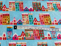 Blue Houses Christmas Fabric, Cotton Fabric, Holiday Fabric, Kids Fabric