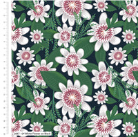 Green White Floral Nursery Fabric Shabby Chic Fabric, Foliage Fabric, Craft Fabric Cotton Fabric Dressmaking Fabric Kids Fabric For Children