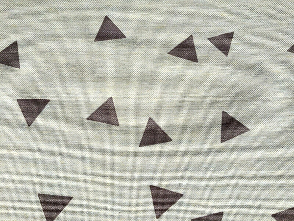 Brown Triangle on Natural Fabric Cotton Canvas Heavy Duty Upholstery Fabric