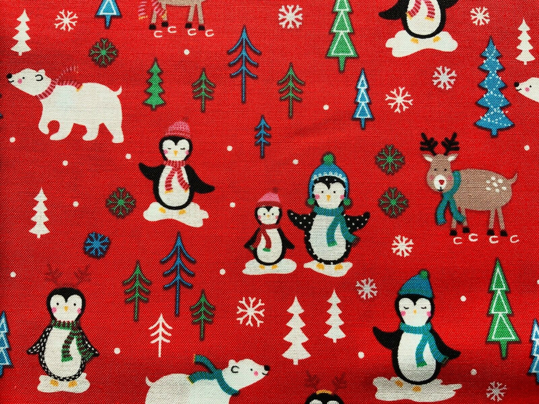 Red Pale Pink Penguins North Pole Xmas Fabric Christmas Cotton Fabric 44