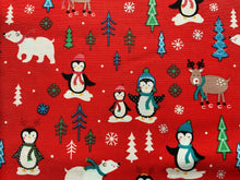 "Load image into Gallery viewer, Red Pale Pink Penguins North Pole Xmas Fabric Christmas Cotton Fabric 44"" Wide - Kims Crafty Corner"
