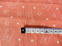 Nursery Fabric Miffy Peach Pink Rabbits Cotton Fabric - Width Approx. 112cm/44""