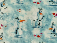 Disney Frozen Elsa Olaf Anna Sven Kristoff Blue Nursery Cotton Fabric Quilting - Kims Crafty Corner
