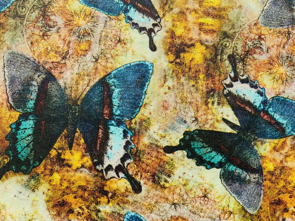 Butterfly Vintage Style Shabby Chic Cotton Canvas Heavy Duty Upholstery Fabric
