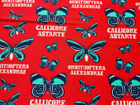 "Red Butterflies Cotton Fabric - Width Approx 112cm/44"" Natural History Butterfly"