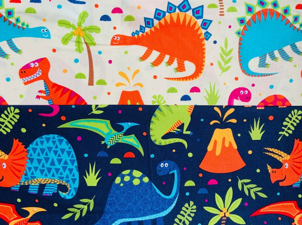 "Kids Cream Navy Dino Dinosaur Fabric Craft Nursery Cotton Fabric 44"" Wide"