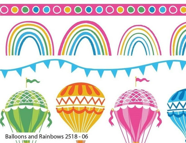 White Hot Air Balloon Nursery Fabric Little Girl Balloon Craft Fabric Cotton