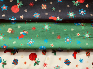 White Navy Green Presents Baubles Xmas Fabric Christmas Cotton Fabric 57
