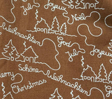 "Load image into Gallery viewer, Brown Merry Christmas Snowflake Fabric Xmas Cotton Fabric - Width 135cm 53"" Wide - Kims Crafty Corner"