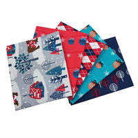 Blue Christmas fat quarter bundle Xmas bundle, Christmas Craft Set Cotton Fabric