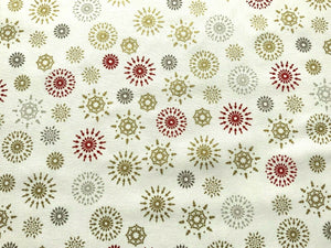 "Xmas Stars Fireworks Cream Silver Grey Fabric Christmas Cotton Fabric 60"" Wide"