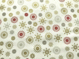 "Xmas Stars Fireworks Cream Silver Grey Fabric Christmas Cotton Fabric 60"" Wide - Kims Crafty Corner"