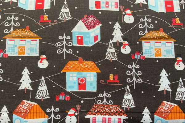 "Christmas Houses Black White Xmas Fabric Christmas Cotton Fabric 60"" Wide - Kims Crafty Corner"