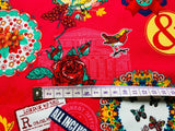 Love London Fabric - Cotton Fabric Pink Scrapbooking Chic Fabric Fashion Hipster