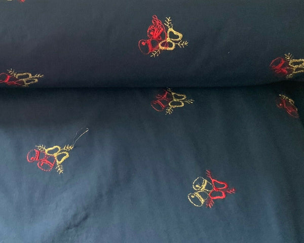 Navy Blue Red Gold Bells Christmas Cotton Fabric Xmas Craft Fabric Sold By Metre - Kims Crafty Corner
