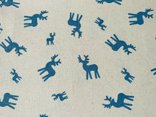 "Load image into Gallery viewer, Christmas Blue Reindeer Natural Linen Xmas Fabric Cotton Fabric 44"" Wide"