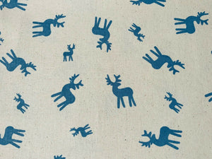 "Christmas Blue Reindeer Natural Linen Xmas Fabric Cotton Fabric 44"" Wide"