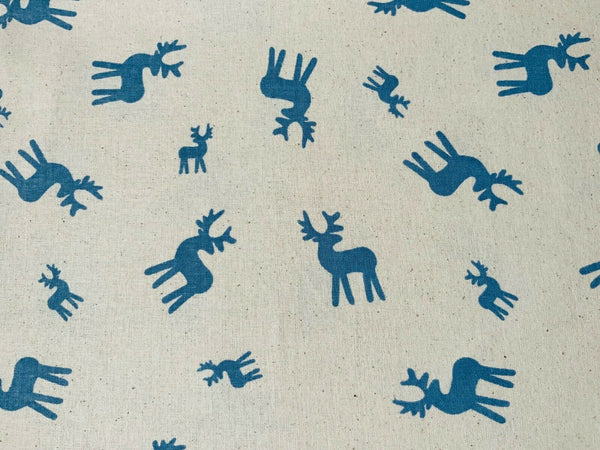 "Christmas Blue Reindeer Natural Linen Xmas Fabric Cotton Fabric 44"" Wide - Kims Crafty Corner"