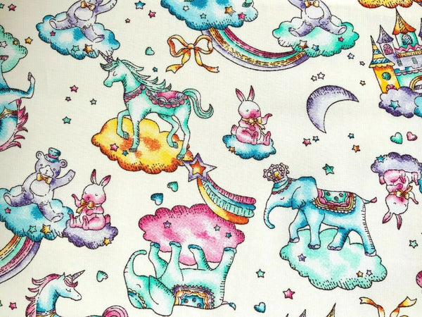 Ivory Unicorn Nursery Fabric Little Girl Elephant Craft Fabric Cotton Baby