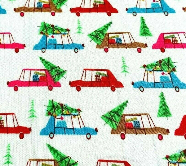 White Cars Christmas Fabric, Cotton Fabric, Holiday Fabric Kids Fabric Xmas Tree