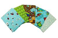 Kids Blue Red Monster Fat Quarter Bundle Craft Bundle Nursery Cotton Fabric Boys
