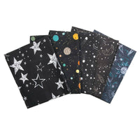 Black Space Fat Quarter Bundle, Nursery Fabric, Craft Cotton Fabric, Moon Stars