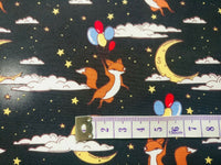 Black Fox Fabric, Cotton Fabric, Space Fabric, Astronaut Fabric, Width 112cm/44""