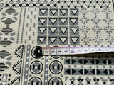 Grey on Natural Fabric Patchwork Geo Cotton Canvas Heavy Duty Upholstery Fabric
