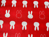 Nursery Fabric Miffy Pink White Rabbits Cotton Fabric - Width Approx. 112cm/44""