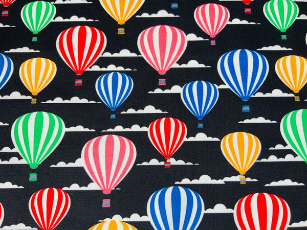 Black Hot Air Balloon Nursery Fabric Little Girl Balloon Craft Fabric Cotton