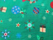 "Load image into Gallery viewer, White Navy Green Presents Baubles Xmas Fabric Christmas Cotton Fabric 57"" Wide"