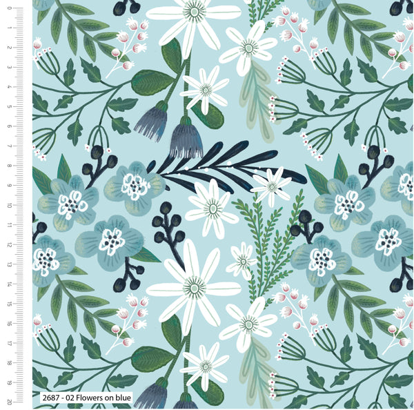 Blue White Floral Nursery Fabric Shabby Chic Fabric, Foliage Fabric, Craft Fabric Cotton Fabric Dressmaking Fabric Kids Fabric For Children