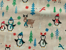 "Load image into Gallery viewer, Red Pale Pink Penguins North Pole Xmas Fabric Christmas Cotton Fabric 44"" Wide"