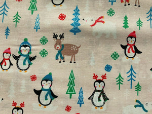 "Red Pale Pink Penguins North Pole Xmas Fabric Christmas Cotton Fabric 44"" Wide"