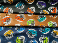 "Brown Navy Black Halloween Pirate Skulls Cosplay Cotton Fabric - Width 148cm/58"" - Kims Crafty Corner"