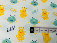 Yellow Monsters Fabric On White Fabric Cotton Fabric, Nursery Fabric, Boys Room