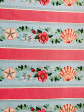 Load image into Gallery viewer, Pink Floral Blue Seaside Nautical Cotton Fabric Craft Quilting Seashell Fabric